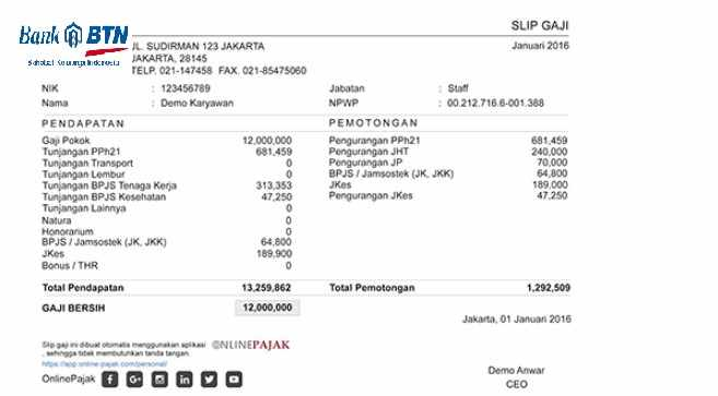 Contoh Slip Gaji Karyawan Bank BTN
